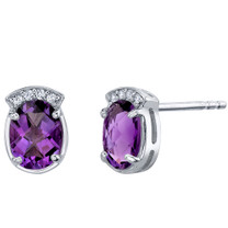 Amethyst Sterling Silver Aura Stud Earrings 2.00 Carats Total