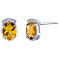 Citrine Sterling Silver Aura Stud Earrings 2.00 Carats Total