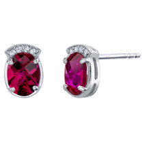 Created Ruby Sterling Silver Aura Stud Earrings 3.00 Carats Total