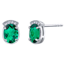 Simulated Emerald Sterling Silver Aura Stud Earrings 2.00 Carats Total