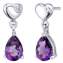 Amethyst Sterling Silver Heart Dangle Drop Earrings 1.25 Carats Total