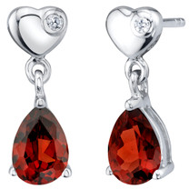 Garnet Sterling Silver Heart Dangle Drop Earrings 1.50 Carats Total