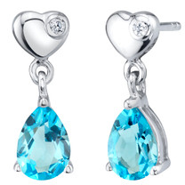 Swiss Blue Topaz Sterling Silver Heart Dangle Drop Earrings 1.50 Carats Total