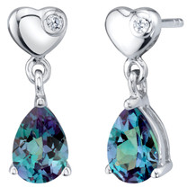Simulated Alexandrite Sterling Silver Heart Dangle Drop Earrings 1.75 Carats Total
