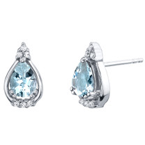 Aquamarine Sterling Silver Empress Stud Earrings 1.00 Carat Total