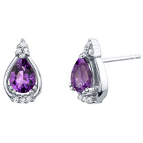 Amethyst Sterling Silver Empress Stud Earrings 1.00 Carat Total