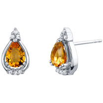 Citrine Sterling Silver Empress Stud Earrings 1.00 Carat Total