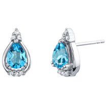 Swiss Blue Topaz Sterling Silver Empress Stud Earrings 1.50 Carats Total