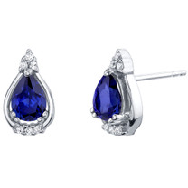 Created Blue Sapphire Sterling Silver Empress Stud Earrings 1.75 Carats Total