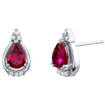 Created Ruby Sterling Silver Empress Stud Earrings 1.75 Carats Total