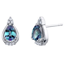 Simulated Alexandrite Sterling Silver Empress Stud Earrings 1.75 Carats Total