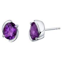 Amethyst Sterling Silver Bezel Stud Earrings 2.00 Carats Total