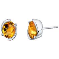 Citrine Sterling Silver Bezel Stud Earrings 2.25 Carats Total