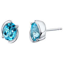 Swiss Blue Topaz Sterling Silver Bezel Stud Earrings 3.00 Carats Total