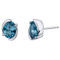 London Blue Topaz Sterling Silver Bezel Stud Earrings 3.00 Carats Total