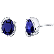 Created Blue Sapphire Sterling Silver Bezel Stud Earrings 3.50 Carats Total
