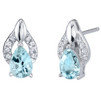 Aquamarine Sterling Silver Finesse Stud Earrings 1.00 Carat Total