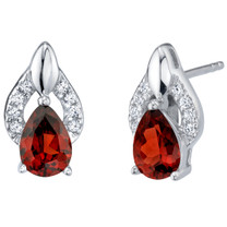 Garnet Sterling Silver Finesse Stud Earrings 1.50 Carats Total