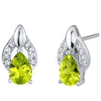 Peridot Sterling Silver Finesse Stud Earrings 1.25 Carats Total