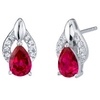 Created Ruby Sterling Silver Finesse Stud Earrings 2.00 Carats Total