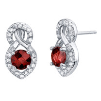 Garnet Sterling Silver Crossover Stud Earrings 2.00 Carats Total