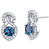 Simulated Alexandrite Sterling Silver Crossover Stud Earrings 2.25 Carats Total