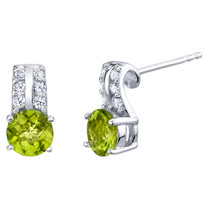 Peridot Sterling Silver Arc Stud Earrings 1.75 Carats Total