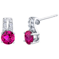 Created Ruby Sterling Silver Arc Stud Earrings 2.00 Carats Total