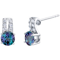Simulated Alexandrite Sterling Silver Arc Stud Earrings 2.25 Carats Total