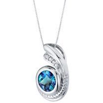 Simulated Alexandrite Sterling Silver Artigiano Pendant Necklace 1.75 Carats