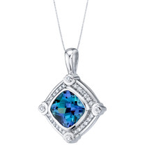 Simulated Alexandrite Sterling Silver Artire Medallion Pendant Necklace 6.00 Carats