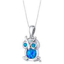 Sterling Silver Mini Owl Created Blue Opal Pendant Necklace