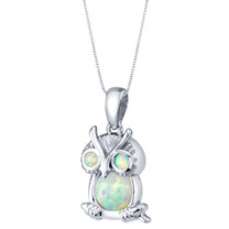 Sterling Silver Mini Owl Created White Opal Pendant Necklace