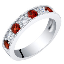 Sterling Silver Garnet Milgrain Half Eternity Ring Band