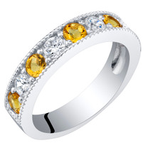 Sterling Silver Citrine Milgrain Half Eternity Ring Band