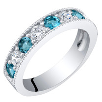 Sterling Silver London Blue Topaz Milgrain Half Eternity Ring Band