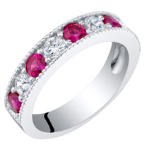 Sterling Silver Created Ruby Milgrain Half Eternity Ring Band