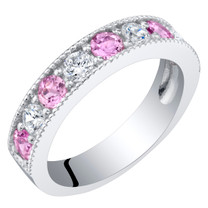 Sterling Silver Created Pink Sapphire Milgrain Half Eternity Ring Band