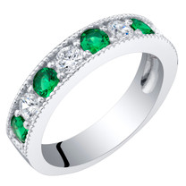 Sterling Silver Simulated Emerald Milgrain Half Eternity Ring Band