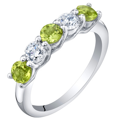 Sterling Silver Peridot Five-Stone Trellis Ring Band