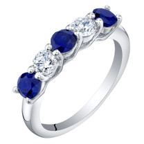 Sterling Silver Created Blue Sapphire Five-Stone Trellis Ring Band