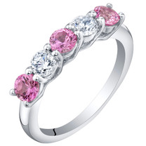 Sterling Silver Created Pink Sapphire Five-Stone Trellis Ring Band