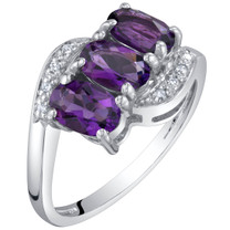 14K White Gold Genuine Amethyst and Diamond Three Stone Anniversary Ring 1.25 Carats Oval Shape