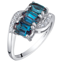 14K White Gold Created Alexandrite and Diamond Three Stone Anniversary Ring 1.50 Carats Oval Shape