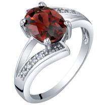 14K White Gold Genuine Garnet and Diamond Solitaire Bypass Oval Ring 1.50 Carats