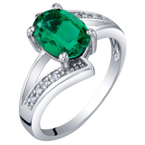 14K White Gold Created Emerald and Diamond Solitaire Bypass Oval Ring 1.25 Carats