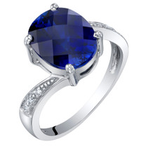 14K White Gold Created Blue Sapphire and Diamond Solitaire Ring 3.50 Carats Oval Shape