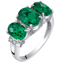 14K White Gold Created Emerald and Diamond Three Stone Triune Ring 2 Carats