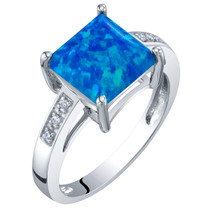 14K White Gold Created Blue Opal and Diamond Princess Cut Solitaire Ring 1 Carat
