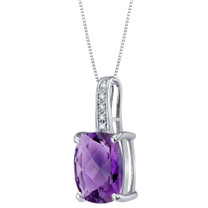 14K White Gold Genuine Amethyst and Diamond Cushion Cut Cosmo Pendant 2.50 Carats
